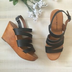 NEW Lucky Brand Leather Strappy Wedges Size 6M